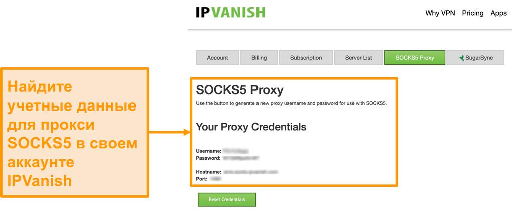 Скриншот бесплатных учетных данных прокси-сервера SOCKS5 от IPVanish на сайте