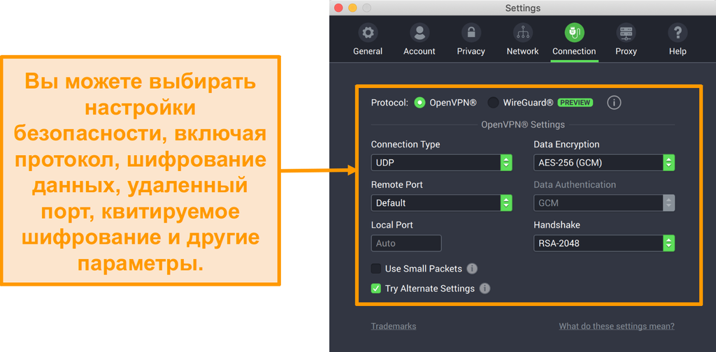 Снимок экрана Private VPN с доступом к Интернету и его приложения для Mac с отображением параметров настройки вкладки