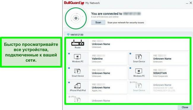Снимок экрана сканера сети BullGuard и устройств, активно подключенных к сети.