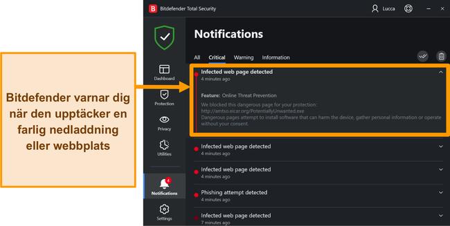 Meddelanden om Bitdefender-skrivbordshot.