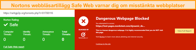 Skärmdump av Norton Safe Web som bekräftar att en webbplats är säker eller farlig.