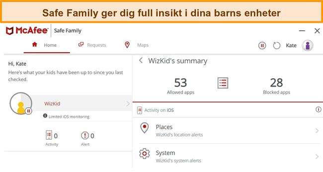 Skärmdump av McAfee Safe Family-funktionen för föräldrakontroll länkad till en iPhone