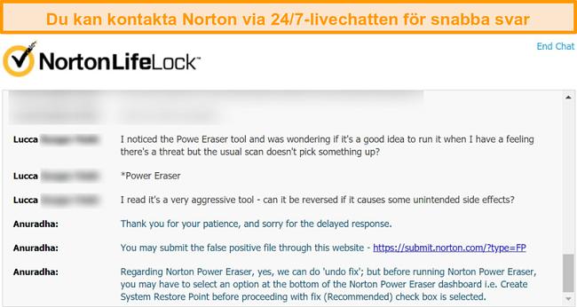Skärmdump av en konversation med en Nortons kundsupportagent via livechatt.