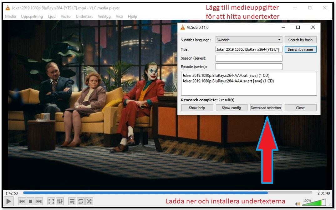 Ladda ner undertext med VLC