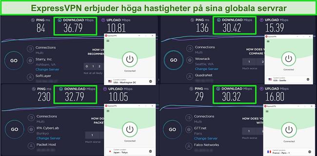 Skärmdump av ExpressVPN ansluten till olika servrar och Ookla hastighetstester