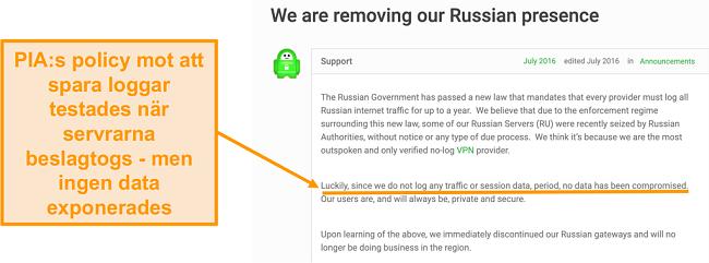 Skärmdump av Privat Internet Access VPN: s webbplats med ett blogginlägg som beskriver anledningen till PIA: s utträde från Ryssland