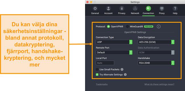 Skärmdump av Privat Internet Access VPN och dess app för Mac som visar fliken Anslutning anpassningsalternativ