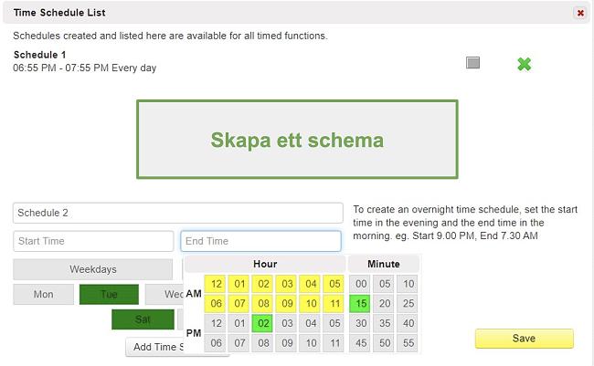 Skärmdump av tidsplanlistan