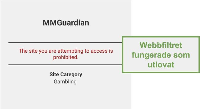 Skärmdump av webbfiltret som fungerade som annonserat