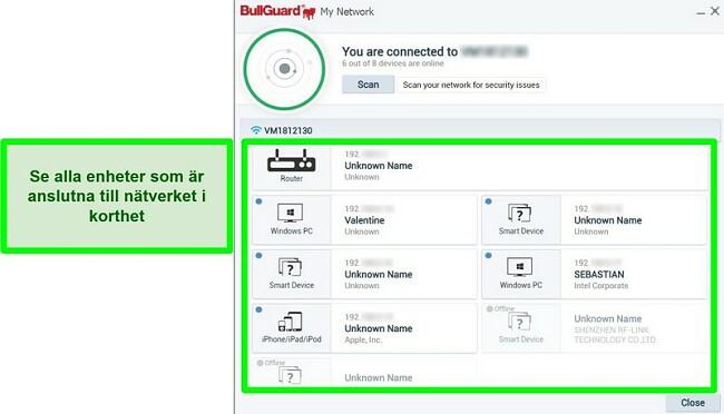 Skärmdump av BullGuards nätverksskanner och enheter som är aktivt anslutna till ett nätverk.