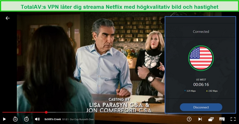 Skärmdump av TV-programmet Schitt's Creek som spelas på Netflix USA