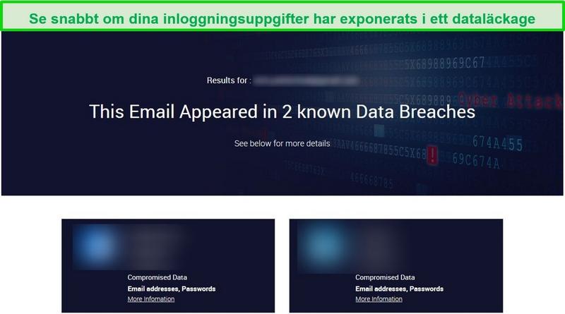 Skärmdump som visar testresultat för dataintrång
