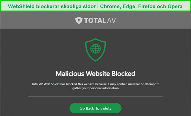 Skärmdump av TotalAVs WebShield som blockerar åtkomst till en skadlig webbplats