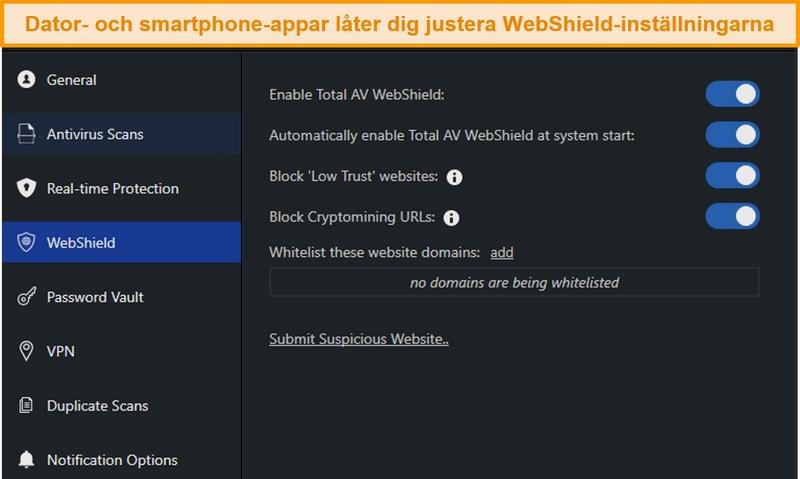 Skärmdump av WebShield-inställningar på TotalAVs stationära app