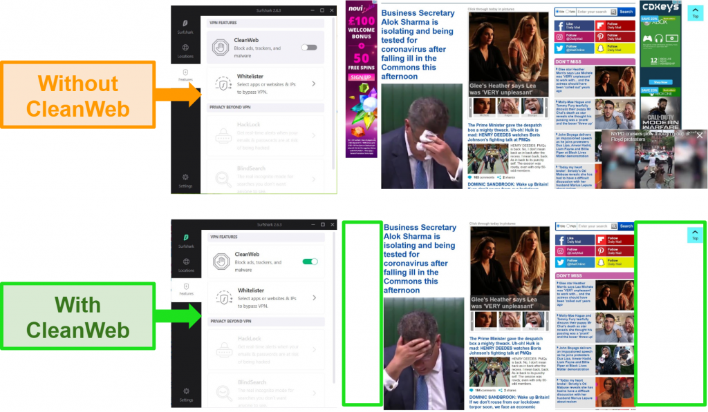 Screenshots of the Daily Mail website with Surfshark's CleanWeb feature blocking all ads