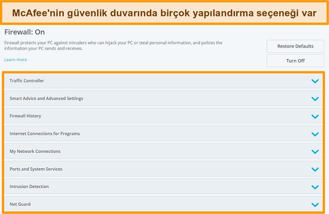 McAfee Firewall özelliklerinin ekran görüntüsü