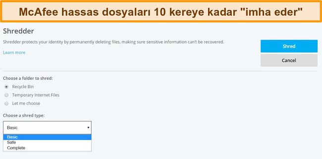 McAfee Shredder özelliğinin ekran görüntüsü
