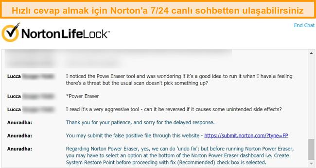 Canlı sohbet yoluyla bir Norton müşteri destek temsilcisiyle yapılan görüşmenin ekran görüntüsü.
