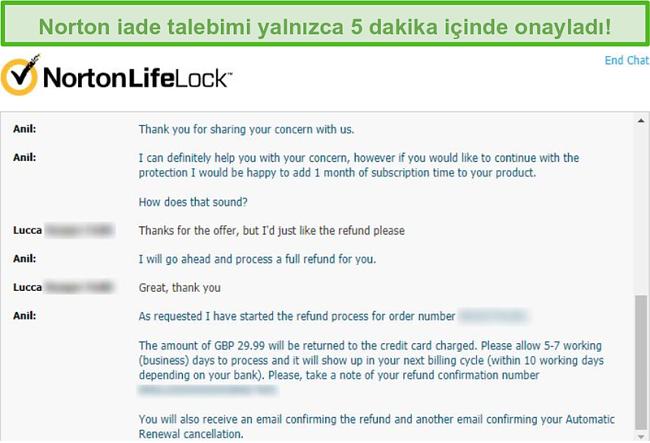 Norton'un canlı sohbeti aracılığıyla geri ödeme alma ekran görüntüsü.