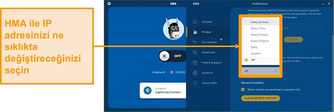 IP Shuffle özelliğini gösteren HMA VPN uygulamasının ekran görüntüsü