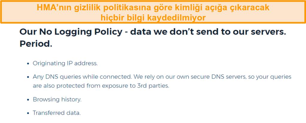 HMA VPN (Hidemyass) ve günlük tutma gizlilik ilkesinin ekran görüntüsü