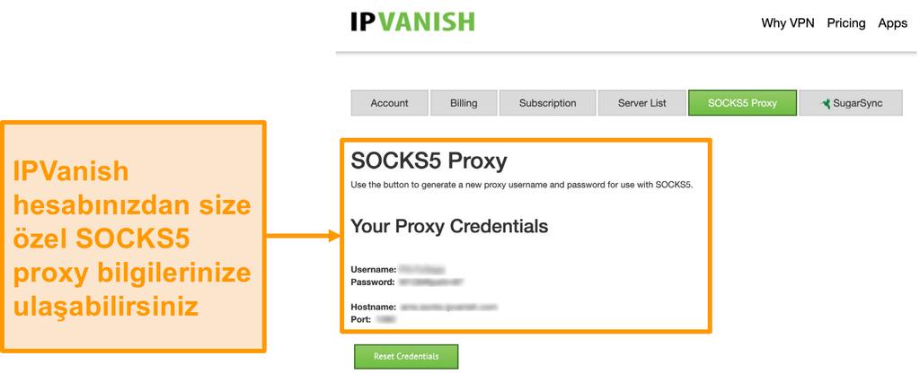 IPVanish'in web sitesindeki ücretsiz SOCKS5 proxy sunucusu kimlik bilgilerinin ekran görüntüsü