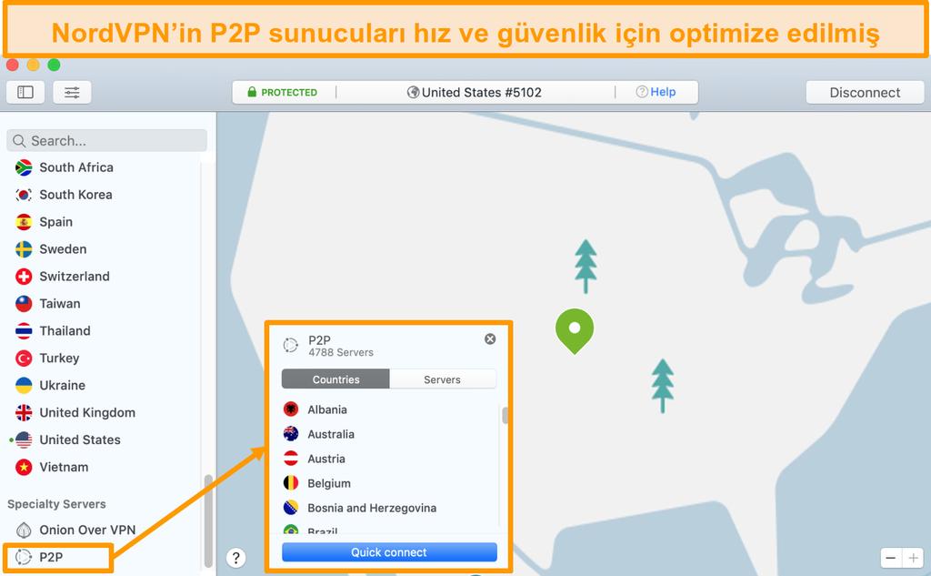 Mac uygulamasında NordVPN'in P2P sunucularının ekran görüntüsü