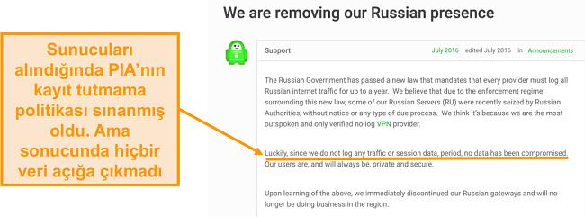 Özel İnternet Erişimi VPN'sinin web sitesinin, PIA'nın Rusya'dan çekilmesinin nedenini açıklayan bir blog yazısı ile ekran görüntüsü