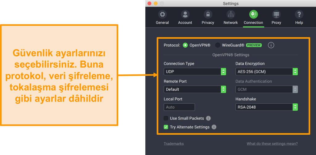Bağlantı sekmesinin özelleştirme seçeneklerini gösteren Private Internet Access VPN ve Mac uygulamasının ekran görüntüsü