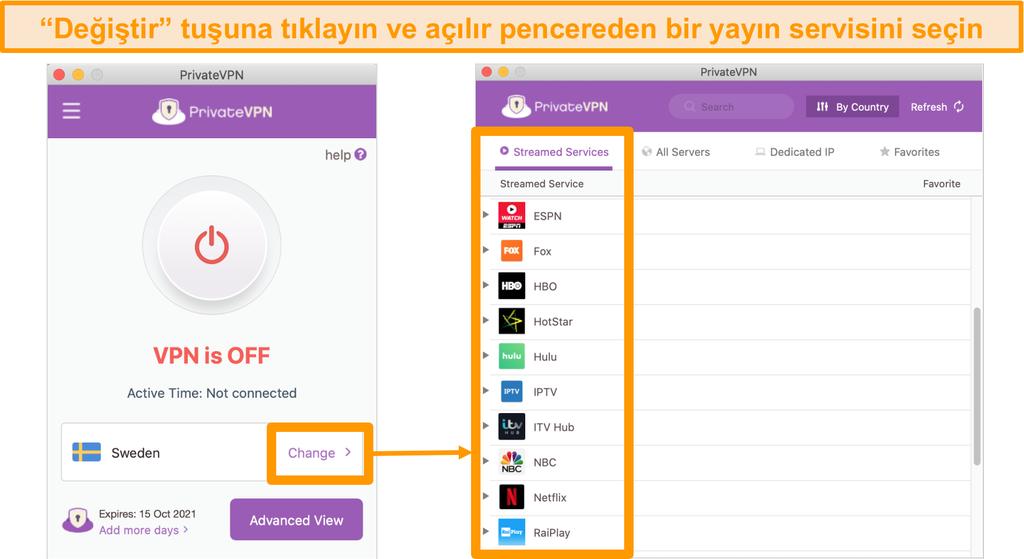 Akış için optimize edilmiş sunucuların listesini gösteren PrivateVPN Mac uygulamasının ekran görüntüsü