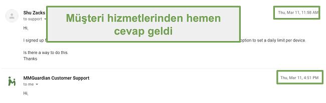 Müşteri desteğinden hızlı yanıtın ekran görüntüsü