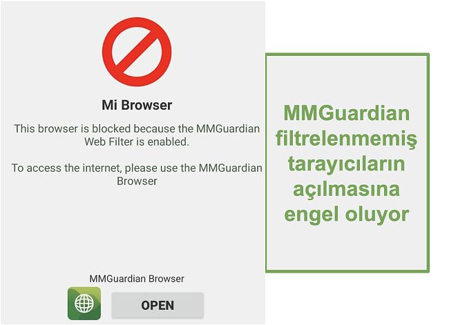 Filtrelenmemiş tarayıcıların açılmasını engelleyen MMGuardian ekran görüntüsü