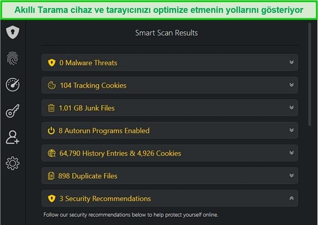 Smart Scan sonuçlarının ekran görüntüsü