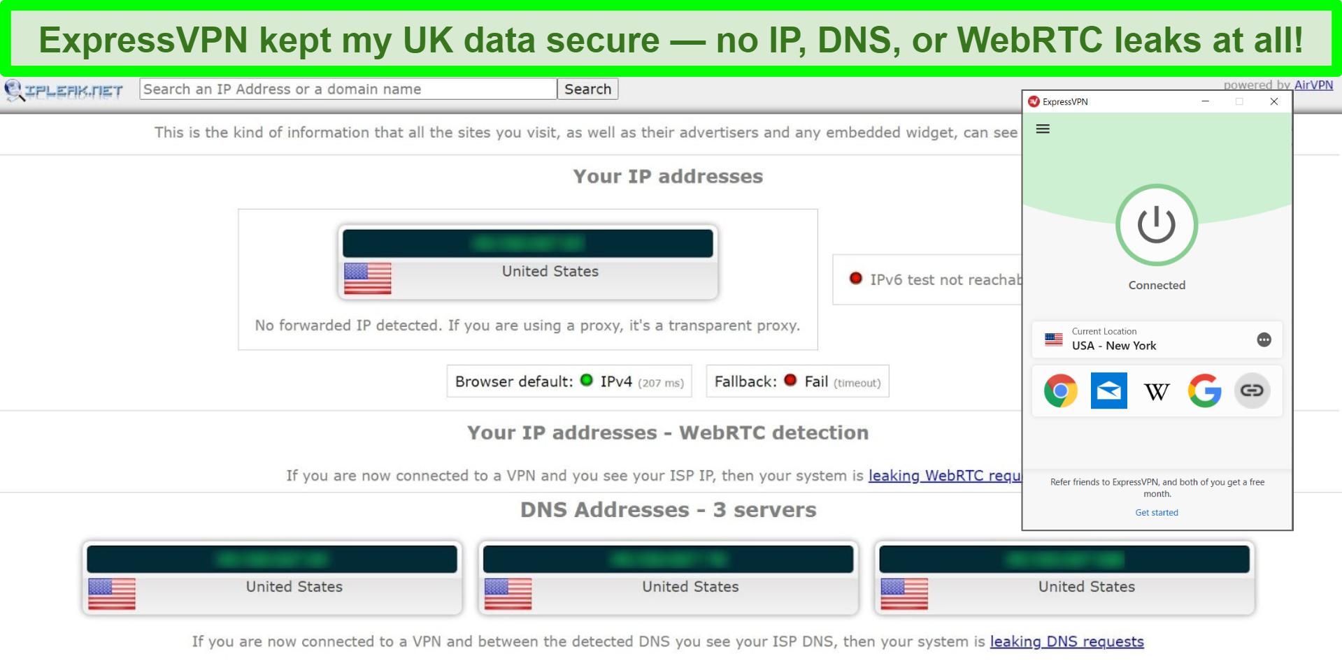 Screenshot of ExpressVPN leak test from IPLeak.net showing zero data leaks