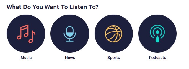 TuneIn listening options