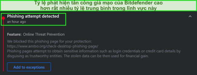 Cảnh báo lừa đảo trên máy tính để bàn Bitdefender.