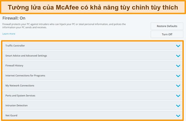 Ảnh chụp màn hình các tính năng của McAfee Firewall