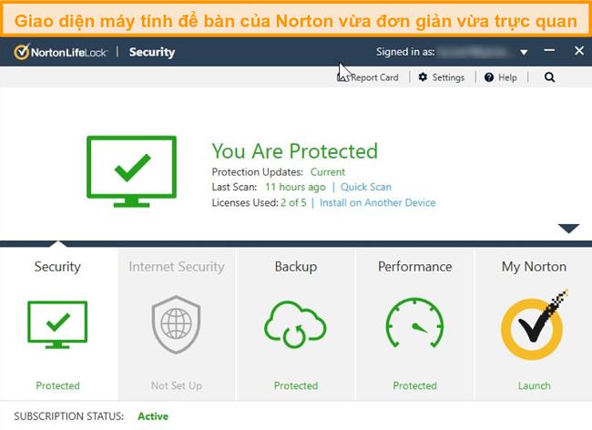 Ảnh chụp màn hình trang chủ của Norton 360 trên Windows