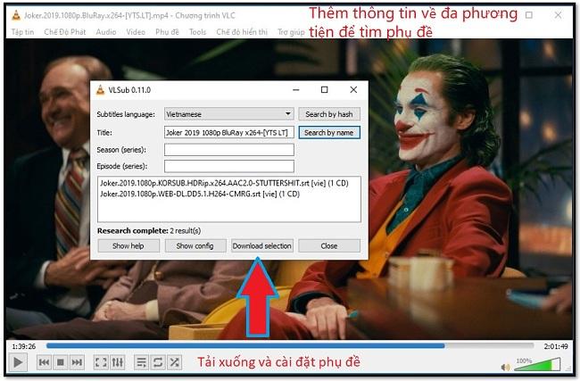 Tải về Subtitle với VLC