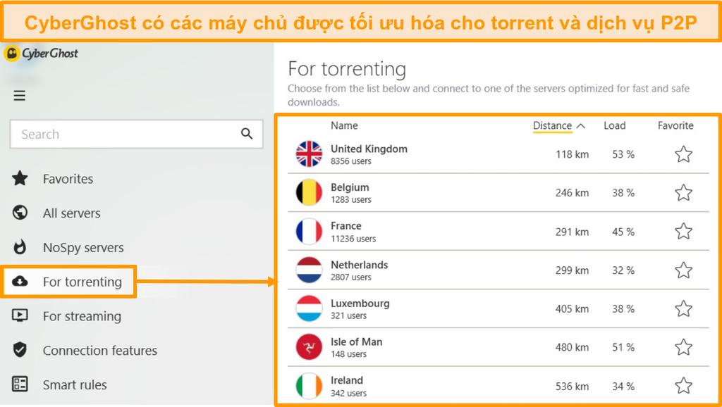 Ảnh chụp màn hình menu máy chủ torrent được tối ưu hóa của CyberGhost trên ứng dụng Windows