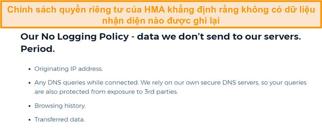 Ảnh chụp màn hình của HMA VPN (Hidemyass) và chính sách bảo mật không đăng nhập của nó