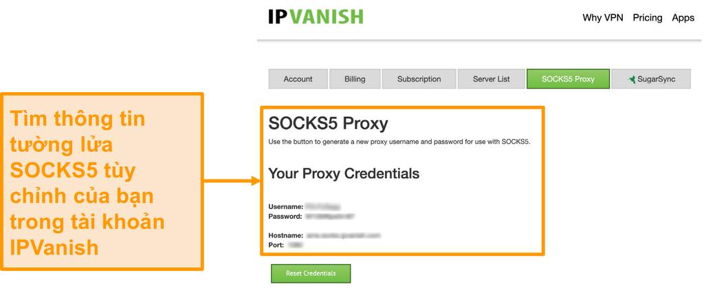 Ảnh chụp màn hình thông tin đăng nhập máy chủ proxy SOCKS5 miễn phí của IPV trên trang web