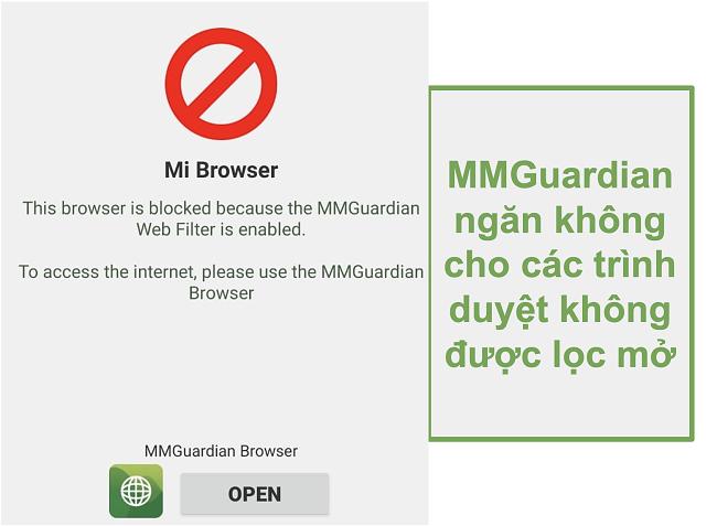 Ảnh chụp màn hình của MMGuardian ngăn các trình duyệt không được lọc mở