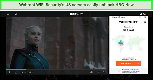 Screenshot of HBO Now playing Game of Thrones while connected to a server in the US