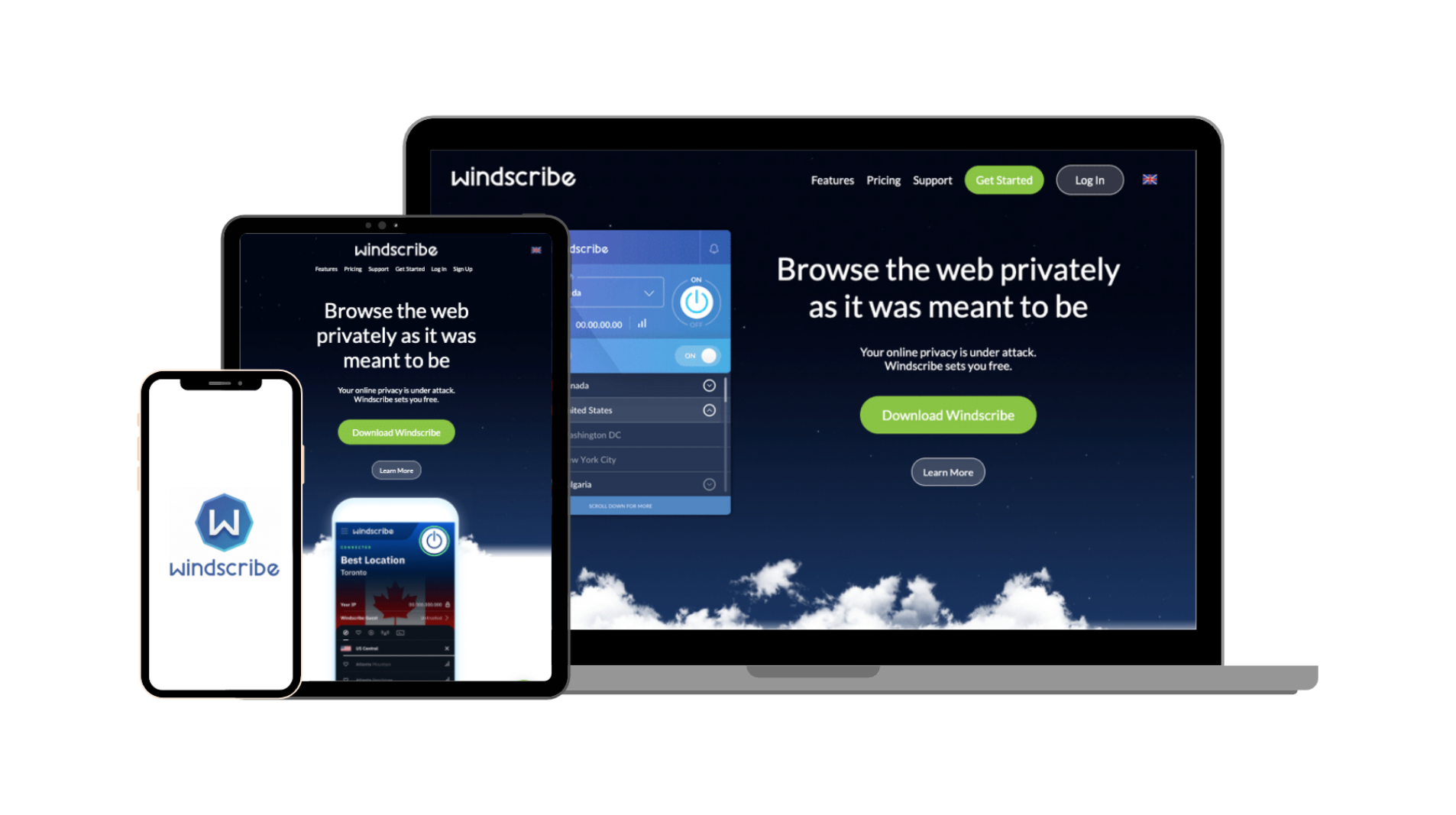 Windscribe vendor general UI EN