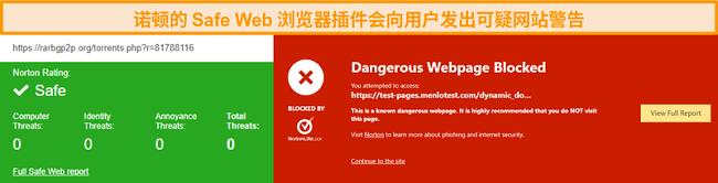 Norton Safe Web的屏幕快照,用于确认网站是安全还是危险。