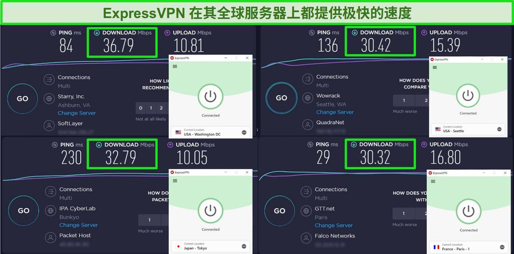 连接到不同服务器和 Ookla 速度测试的 ExpressVPN 屏幕截图