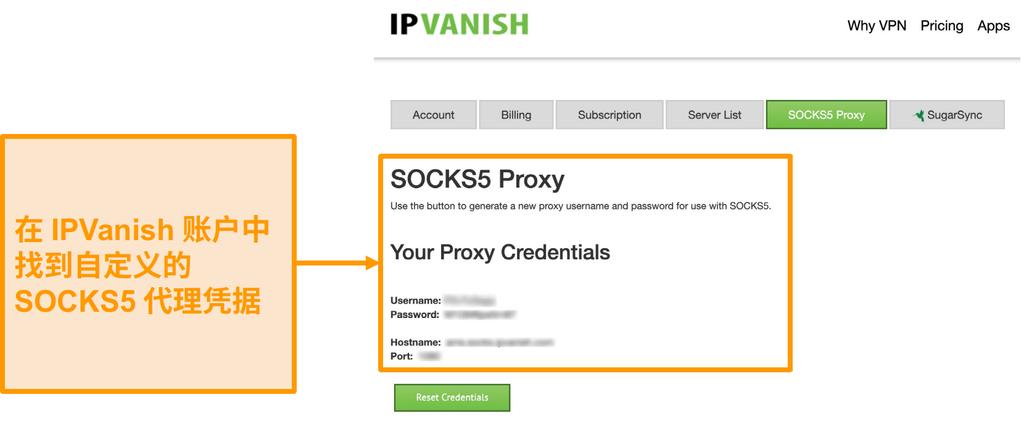 IPVanish 免费 SOCKS5 代理服务器凭据的屏幕截图在网站上