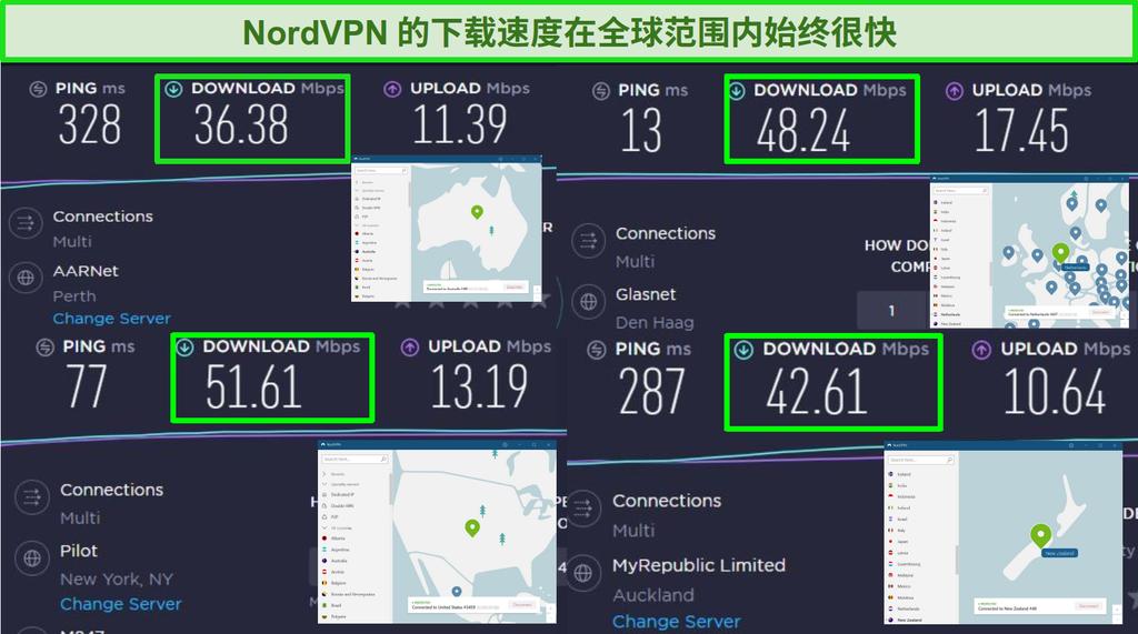 连接到不同全球服务器和 Ookla 速度测试的 NordVPN 屏幕截图