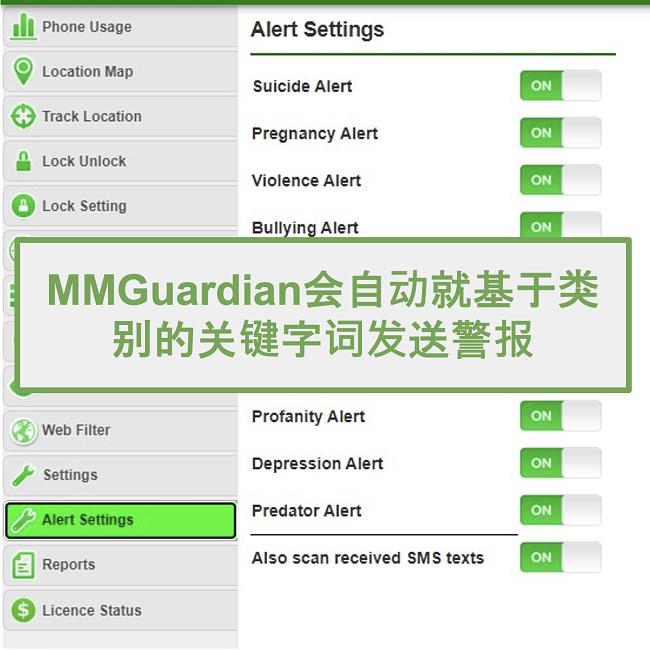 MMGuardian屏幕快照自动发送基于类别的关键字的警报